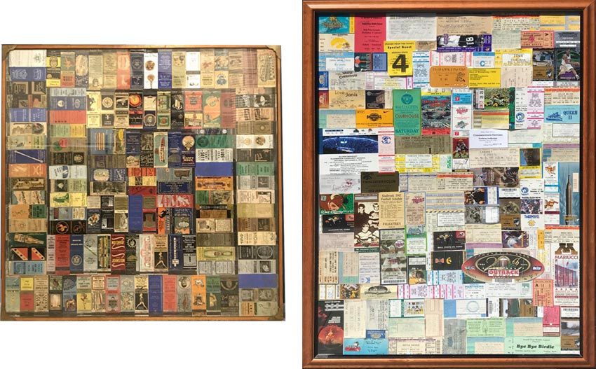 father and son collectors: matchbooks and ticket stubs