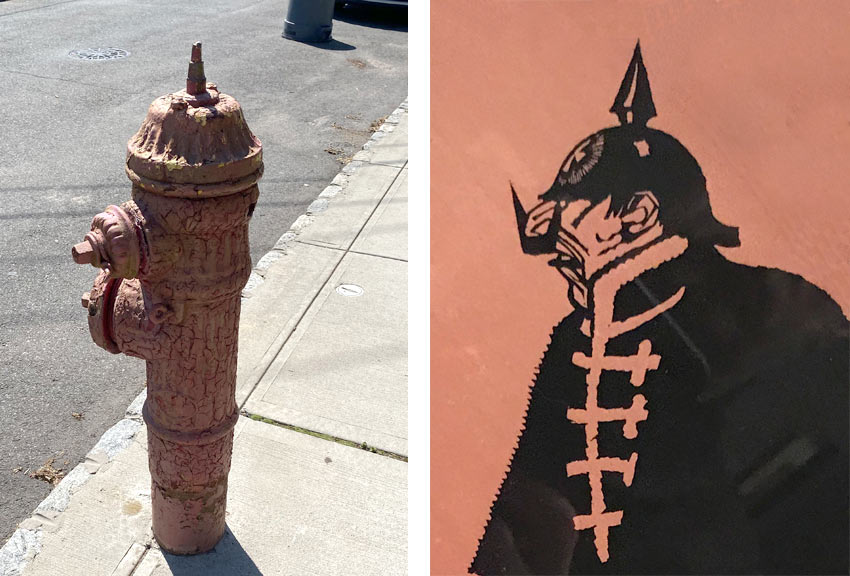 comparing a fire hydrant to a World War I German army spiked helmet