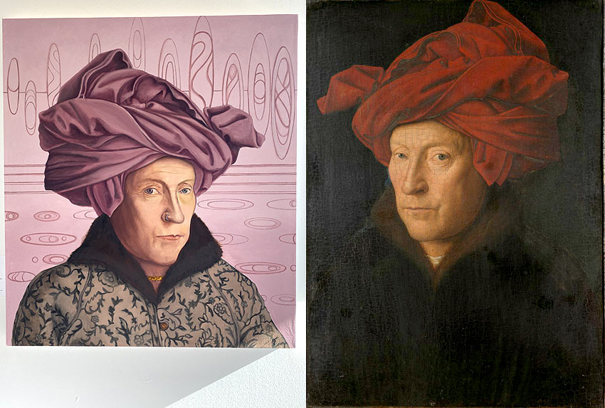 Contemporary homage to Jan Van Eyck Self Portrait