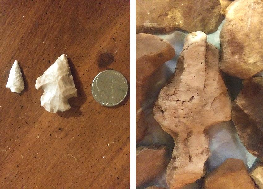 Native American arrowheads found in Johnson County Missouri