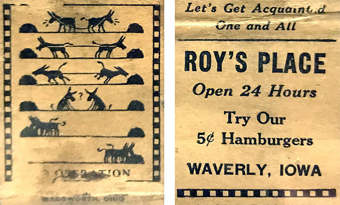 Roy's Place 5 cent hamburgers in Waverly Iowa