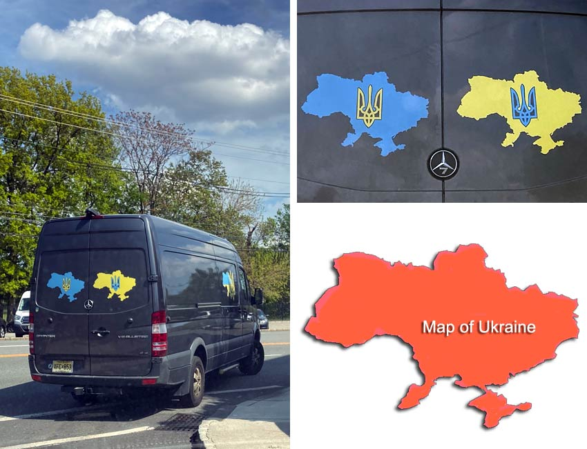 mystery truck with mystery logo featuring map of the Ukraine