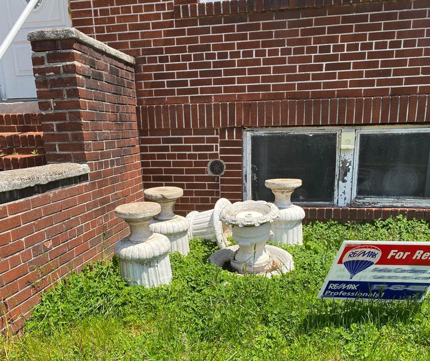 upturned classical urns and a bird bath in Belleville NJ