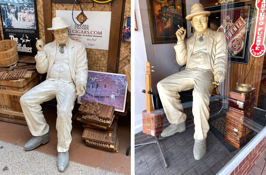 life sized Al Capone cigar sculpture Arthur Avenue in the Bronx and in Larchmont