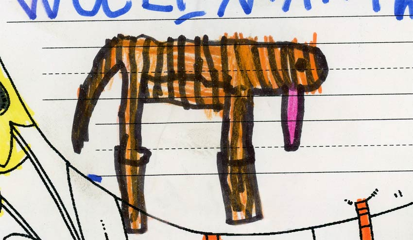 a kid's drawing of a tiger
