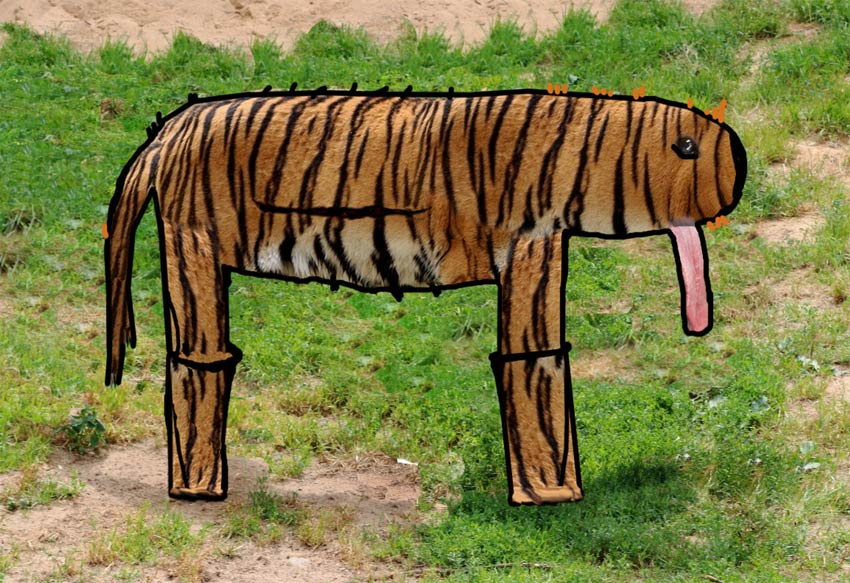 surrealist Photoshop tiger based on kid drawing art