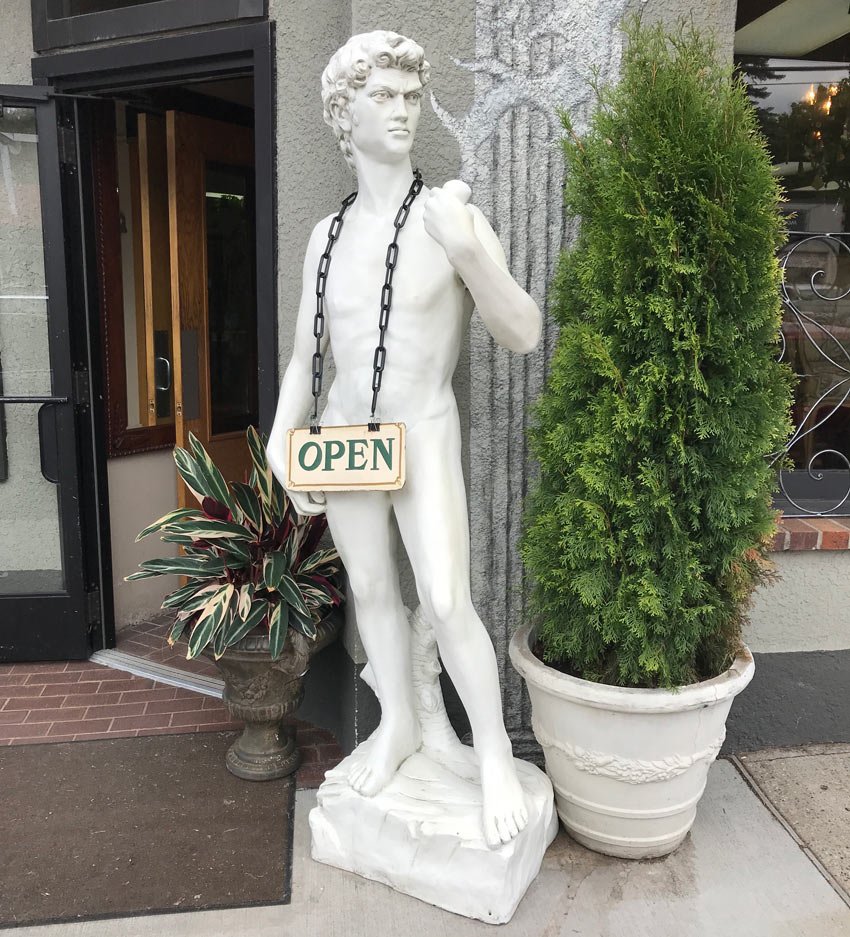 a copy of Michelangelo's David sculpture as seen in Minneapolis