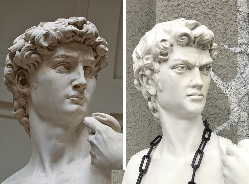 Michelangelo David and a copy, looking at their expressions