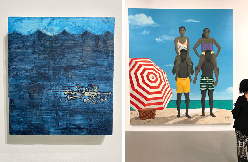two paintings featuring ocean and beach themes