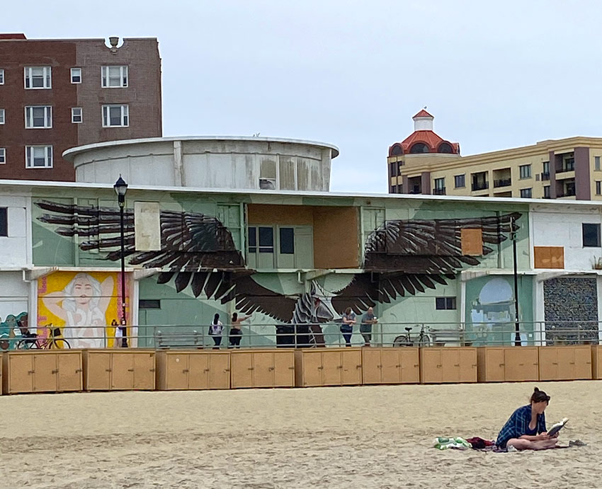 Wooden Walls art murals on the boardwalk at Asbury Park