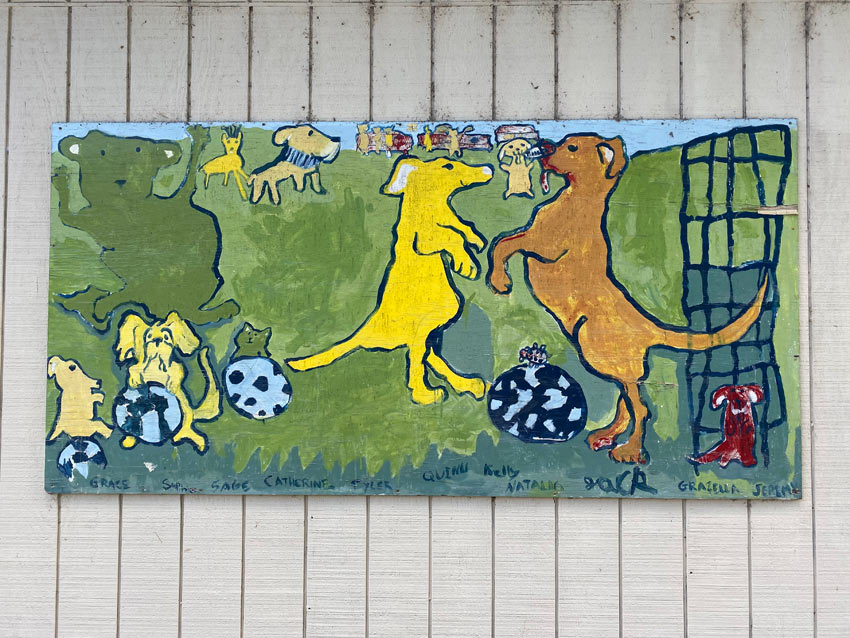 Dogs playing soccer mural at a park in Callicoon NY