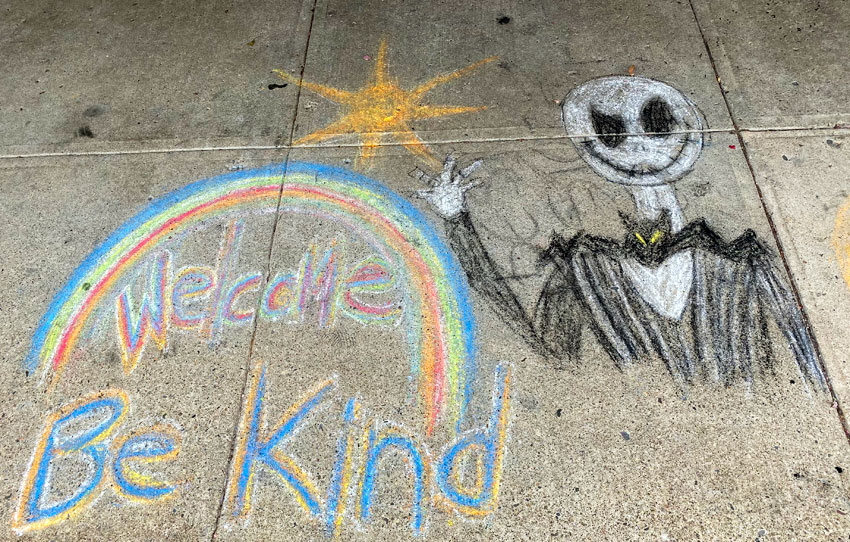 Halloween Chalk Drawing on the sidewalk at Jerry's Artist Outlet