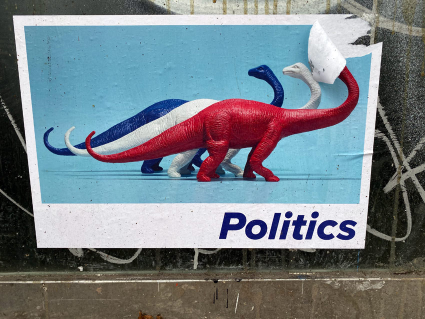 red white and blue dinosaurs street art in NYC