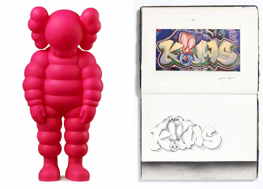 sculpture and drawing by KAWS