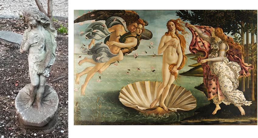 sculpture found in NYC compared to Botticelli painting of Venus