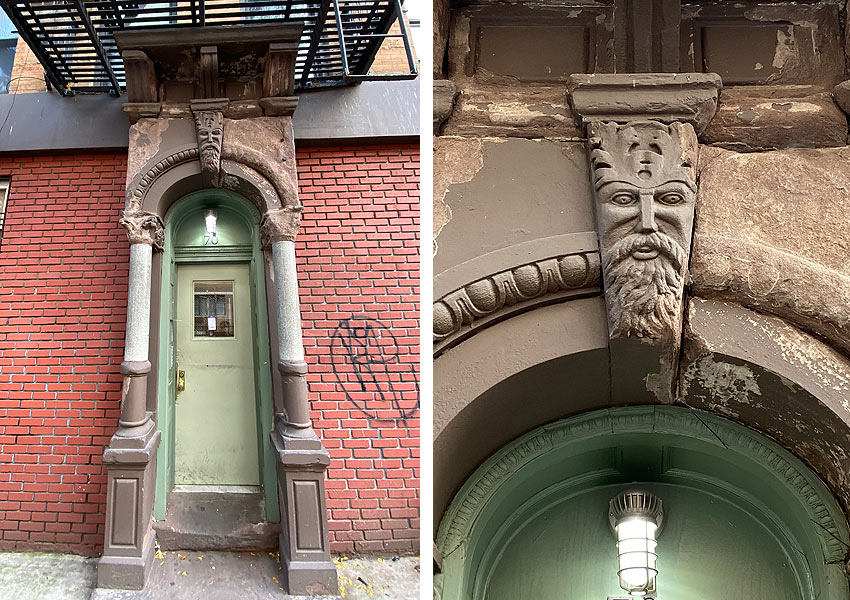 architecture with carved face of a bearded man on East 3rd Street NYC