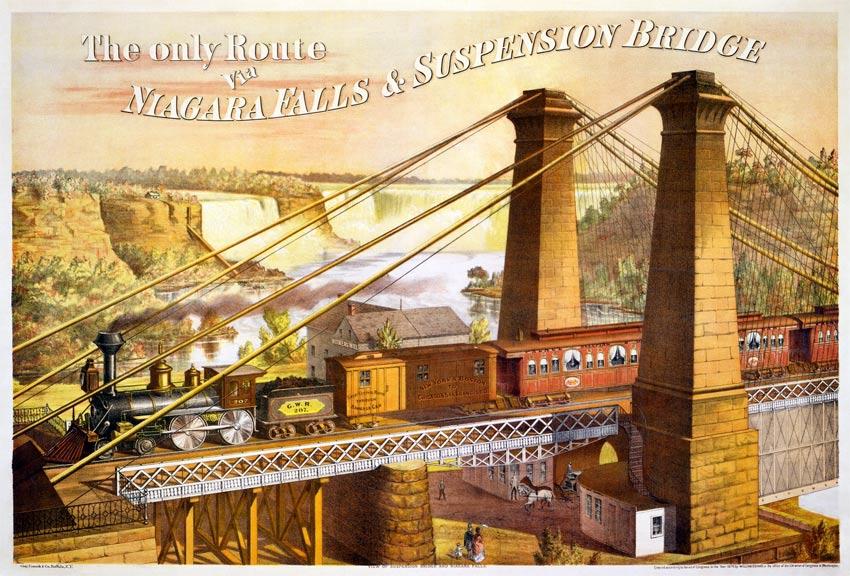 Niagara Falls with train and industrialization