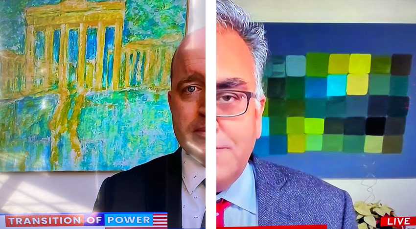 paintings in the background of cable news tv interviews