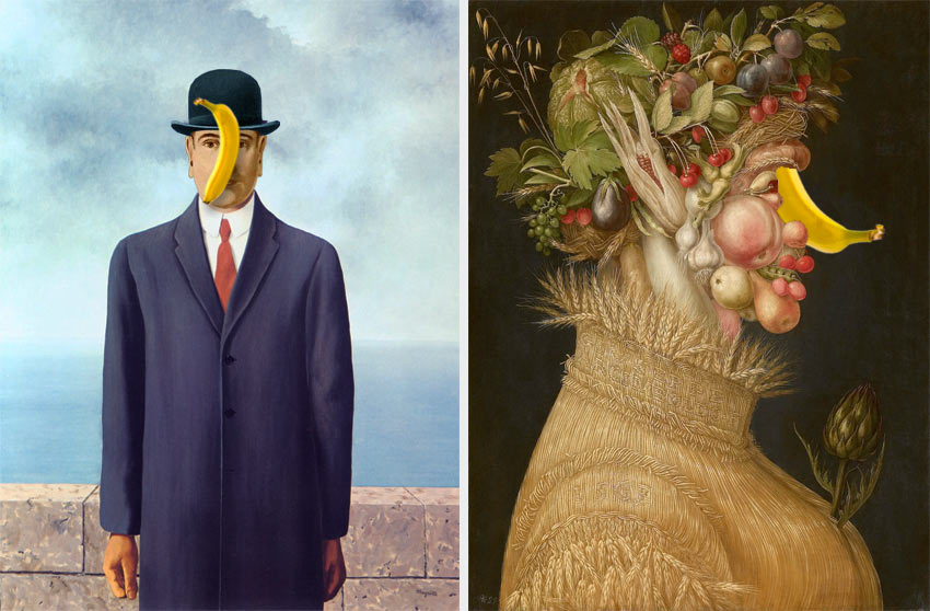 famous paintings by Magritte and Arcimboldo with bananas