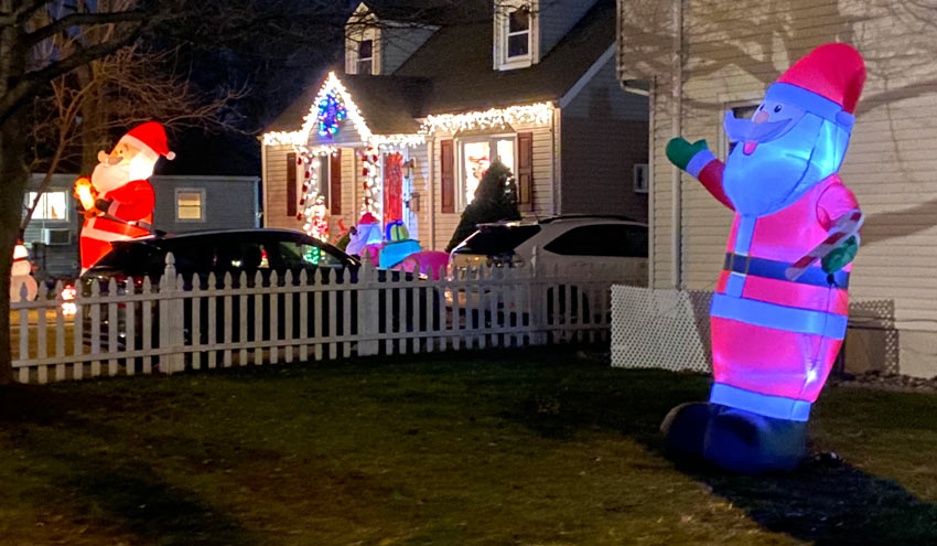 giant inflatable Santa Claus showdown