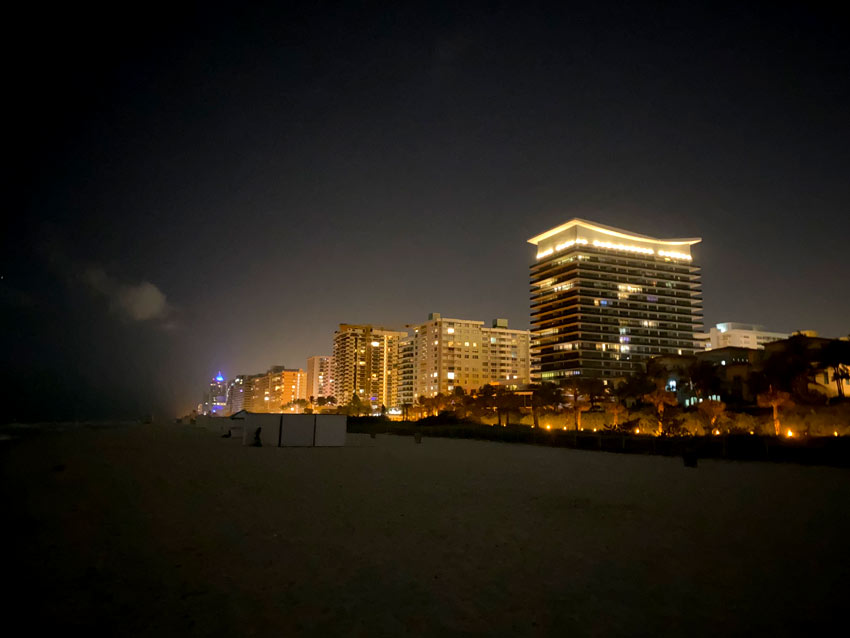 Miami Beach at night as seen from the beach