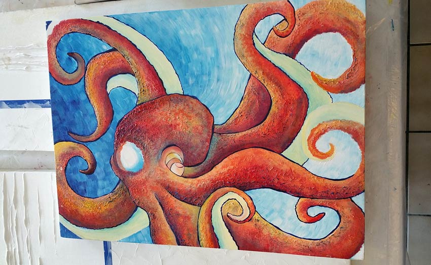 octopus painting seen in a gallery in Turks and Caicos
