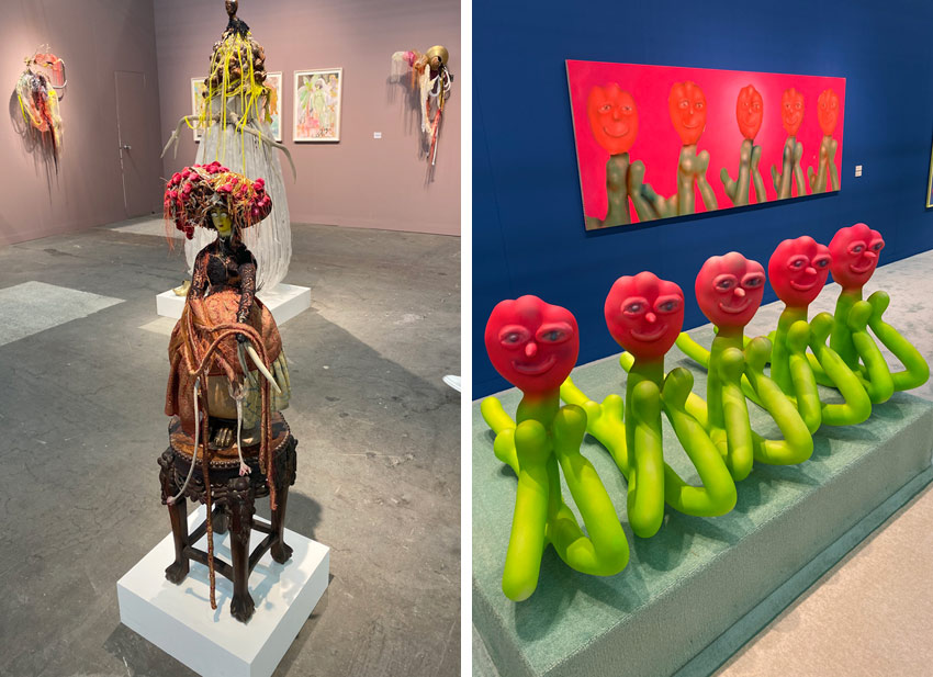 art by Rina Banerjee and Austin Lee at the 2020 Armory Show in NYC