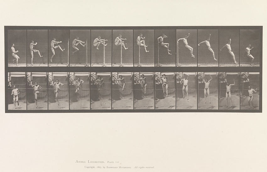photographic series of a man jumping by Eadweard Muybridge