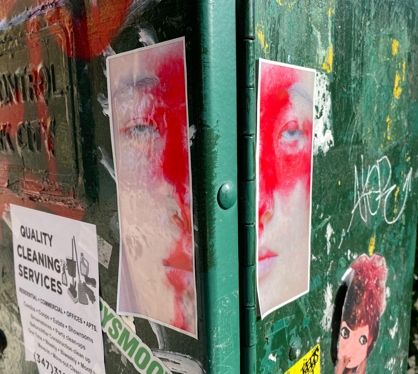diptych of sticker art on traffic control box in NYC