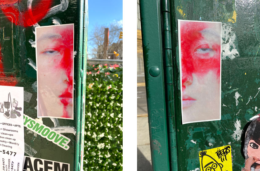 face with red paint sticker art nyc