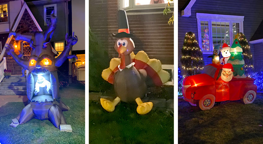 holiday inflatables seen in Belleville