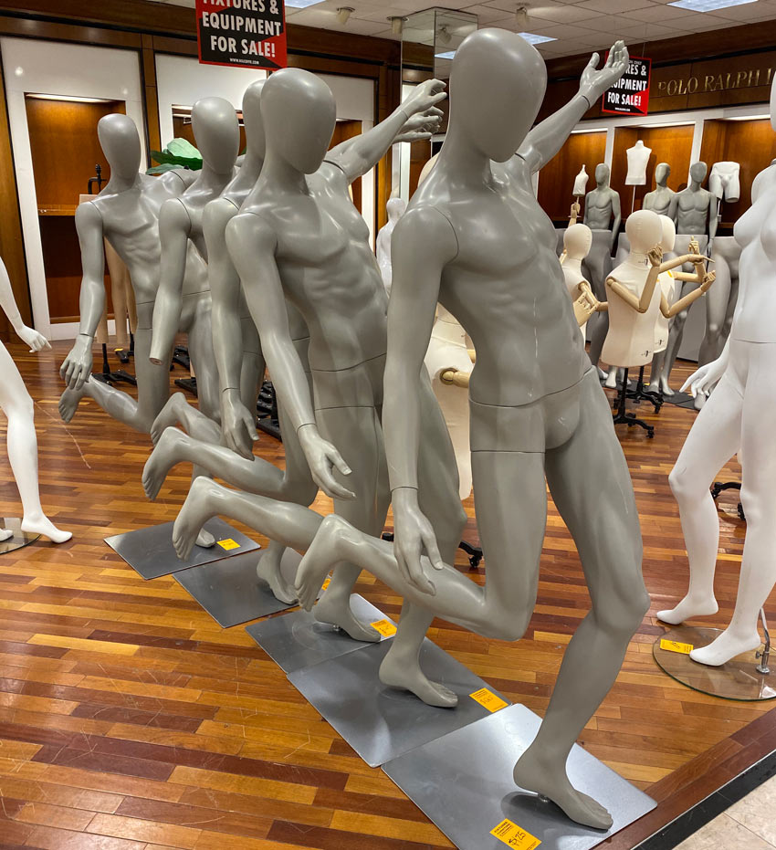 A series of mannequins that reminds me of motion study photographs by Muybridge