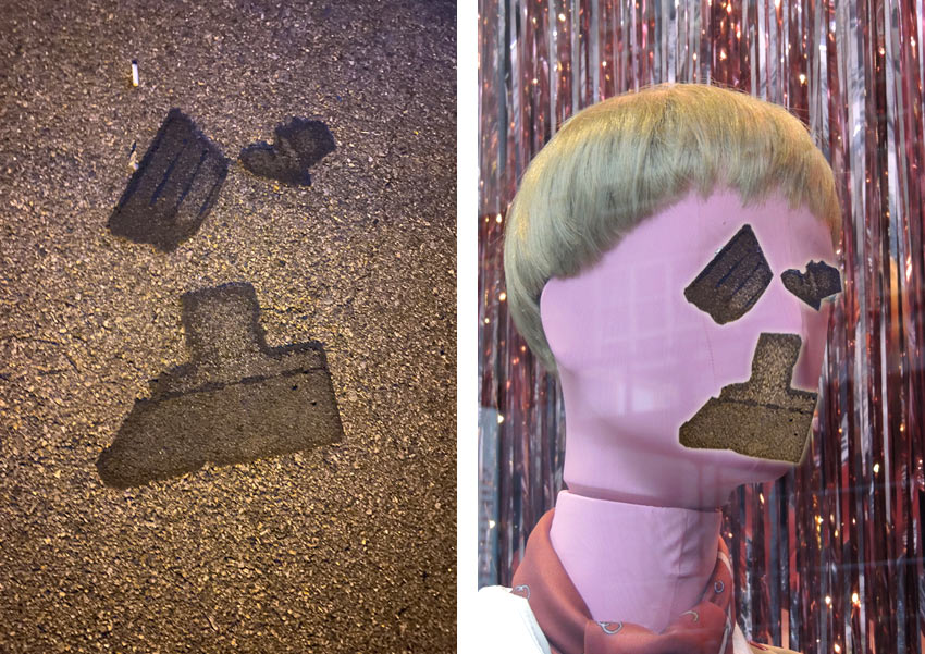 roof shingles on the ground, collaged onto a mannequin face