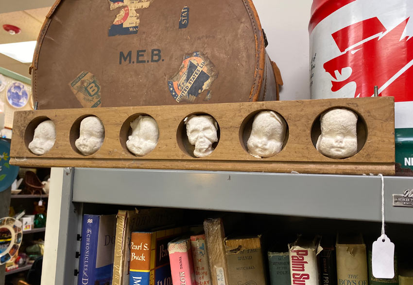 baby head art work at Valley Vintage in West Orange