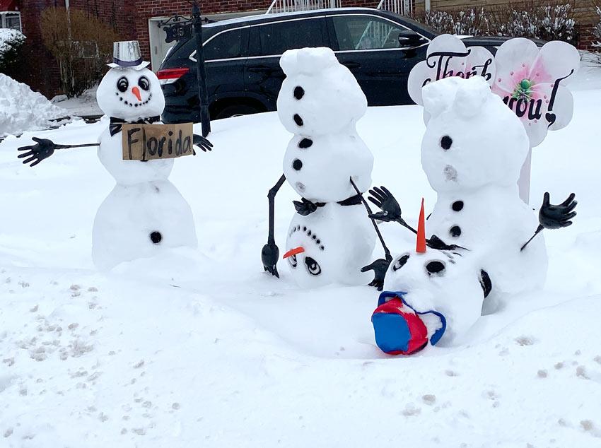 creative upside down snowmen seen in Belleville, NJ