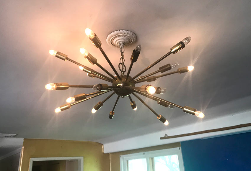 sputnik chandelier in a home for sale